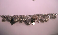 """Antique Sterling Silver Heart Charm Bracelet various kind  Charms Long 7 3/4"""""""