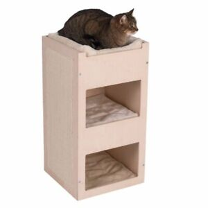 Tiragraffi a torre per gatti in legno a 3 piani casetta cuccia con cuscino
