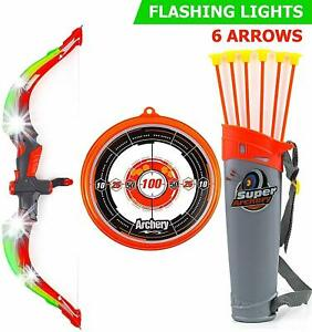 Toysery Bow and Arrow for Kids with LED Flash Lights, Red, Best Holiday Toys