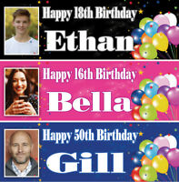 2 personalised birthday banner photo balloon adults kids party poster decoration