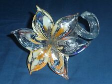 Hand Made Murano Glass Clear, Orange Yellow Flower  twisted stem Italy