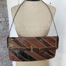 SNAKESKIN & LEATHER Vintage CAPRICE Tan Brown Clutch Purse Shoulder Bag