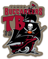 Tampa Bay Buccaneers TB12 Tom Brady Pirate Ship Logo type Die-Cut MAGNET