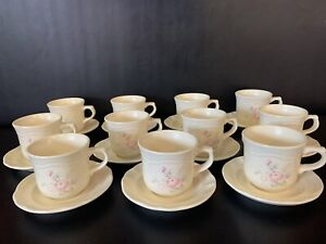 "Lot of 11 Pfaltzgraff Tea Rose 3 1/8"" Mugs/Cups & 5 3/4"" Saucers 