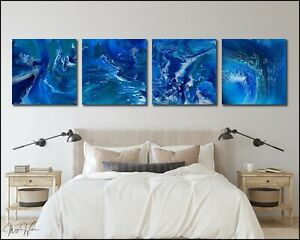 4-Piece Modern Abstract Original Painting, Large Canvas Wall Art Framed X Willis