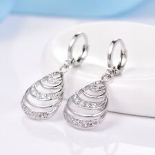Sparkly Women Sapphire Crystal Silver Gold Filled Dangle Drop Earrings Jewelry
