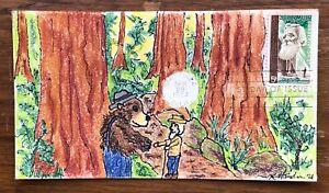 John Muir #1245 FDC, Kate Hayden cachet art, John, Smokey the Bear & Redwoods