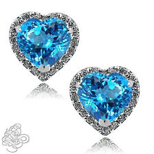1.89 CT HALO HEART BLUE TOPAZ STUD EARRINGS 14K W GOLD PLATED OVER SILVER