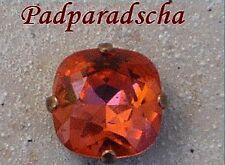 1 cabochon carré 12 mm serti padparadscha, cristal de swarovski.