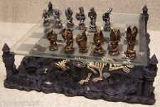 Chess Set with Glass Board Themed Polyresin Platform Pewter Mythical Dragons NEW