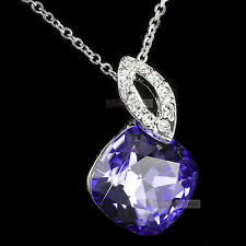 18k white gold gf made with purple SWAROVSKI crystal pendant necklace