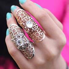 Punk Rings Rocks Scroll Joint Hollow Metal Full Finger Claw Rings New Fashion