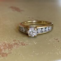 Diamond Engagement Ring 3/4 TCW with Channel-Set Stones 14k Gold Size 5