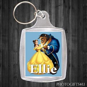 Personalised BEAUTY & THE BEAST Keyring / Bag Tag With Your Name - Disney Belle