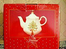 All The Trimmings Lattice Christmas Tree Teapot Gold Trim Macy's 1986 Japan