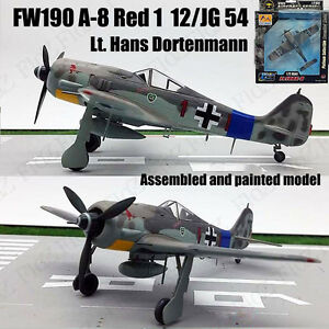 WWII Fw 190A Shrike Red 1 Hans Dortenmann 1/72 no diecast plane Easy model