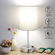 Touch Control Bedside Lamp 60W LED With 2 Fast USB Charging Ports And AC Outlet