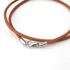 """19"""" 20"""" Womens Mens Brown Leather Necklace Silver Stainless Steel Lobster Clasp"""