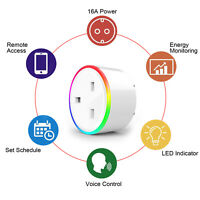 Smart WIFI Plug Socket Wireless Outlet Timer Remote Voice Control RGB Light