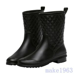 Womens Mid Calf Rainboots Riding Waterproof PVC Korean Spring Shoes US 5-9.5