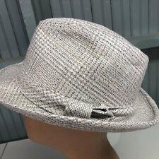 Bee Hats Mens Gray Plaid Tweed Wool 7 1/8 Fedora Cap Hat