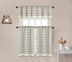 3 Piece Buffalo Check Plaid Gingham Kitchen Window Curtain Tiers and Valance Set