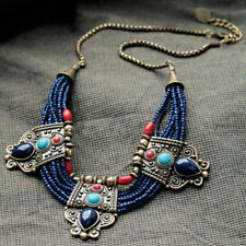 Turquoise Coral Blue Bead Tibetan Necklace Lazuli Stone Necklace Statement Bibs