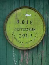 """Rare Green 2002 Fettercairn Whisky Barrel Lid w/ end hoop ready to hang 25"""" wide"""