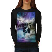 Wellcoda Horse Space Nature Womens Long Sleeve T-shirt, Nature Casual Design