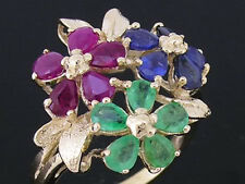 R192 Genuine 9ct Yellow GOLD Natural Emerald, Ruby, Sapphire BLOSSOM Ring size M