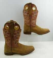 Men's Semental Orange / Brown Leather Western Cowboy Boots Size: 7
