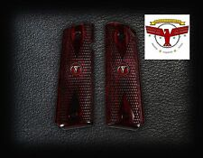 COLT MODEL 1911 OXBLOOD GRIPS Checkered Diamond + Steer Skull Medallions ^