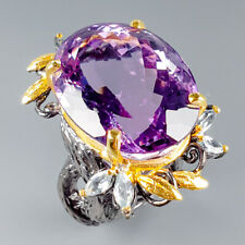 Vintage35ct+ Natural Amethyst 925 Sterling Silver Ring Size 8/R115724