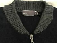 VINCE MENS WOOL BLUE CONTRAST RIBBED DETAIL TWO-WAY ZIP SWEATER JACKET SIZE XL