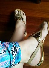MARCO GIANNI KHAKI TAN GOLD METAL FEATURES sandals Flats ballets SHOES 39 NEW