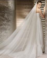 Voile long 3m tulle double couche avec peigne pour robe mariée ivoire réf V13