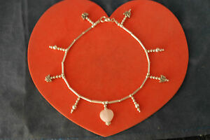 """Silver Anklet With Rose Quartz Gem Balls And Butterfly 7.6 Gr. 9"""".5 Inches Long"""