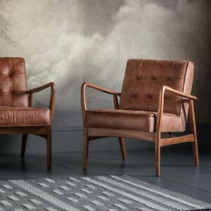Frank Hudson Gallery Direct Humber Armchair Vintage Brown Leather