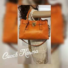 MICHAEL KORS HAMILTON Med Orange Ostrich Emboss Leather Tote Handbag