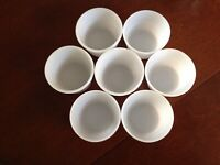 Lot 7 Custard Cups/Ramekins  Milk Glass Vintage