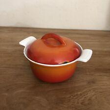 Vintage Descoware Flame Orange Red Enamel Cast Iron Small Lid Pot Oven 17-AA 12