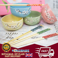 Pink Boxed Gift Set 4 Pairs Of Ceramics Chinese Chopsticks with Rice Bowls Gift