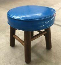 Vtg Child's four-legged wooden stool, striking blue, round vinyl padded seat