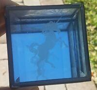 Vintage Glass Trinket Jewlery Box with Unicorn / Floral Design