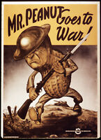 US WWII Propaganda Poster Painting MR Peanut Goes To War  Real Canvas Art Print