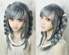 Anangelhair Peko Pekoyama Cosplay Wig Danganronpa Dangan-Ronpa Grey Wig