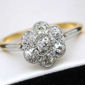 Art Deco 18ct Yellow Gold and Platinum 1.15ct Old Cut Diamond Daisy Cluster Ring
