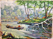 Vntg 50's Fishing on River Paint by Number Painting PBN Fishermen In Boat 24X18