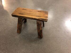 Antique Handmade Primitive Wood Small Milking Stool - Pegged.