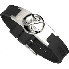 ProExl Golf Magnetic Bracelet Brushed Steel With Silver Clubs Detachable Marker